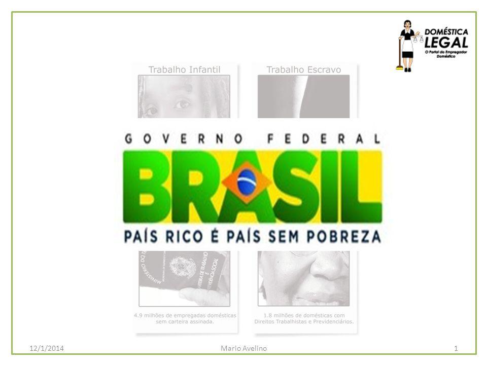 5 milhões de Domésticas Legais em 2011 JUSTICA E INCLUSÃO SOCIAL E TRABALHISTA = SUSTENTABILIDADE PREVIDÊNCIA SOCIAL JUSTICA E INCLUSÃO SOCIAL E TRABALHISTA = SUSTENTABILIDADE PREVIDÊNCIA SOCIAL 2Mario Avelino12/1/2014 EMPREGO DOMÉSTICO