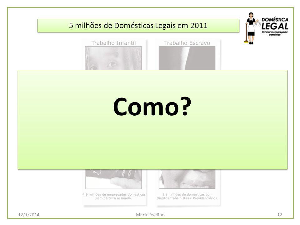 5 milhões de Domésticas Legais em 2011 Como? 12Mario Avelino12/1/2014