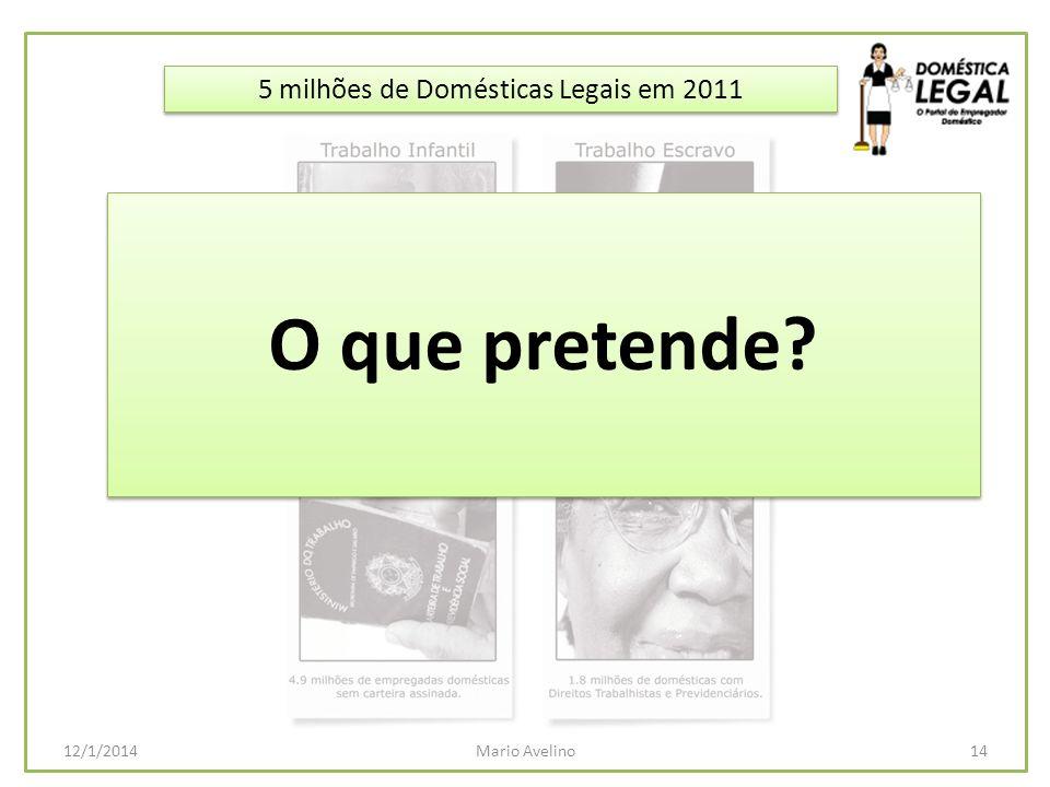 5 milhões de Domésticas Legais em 2011 14Mario Avelino12/1/2014 O que pretende?