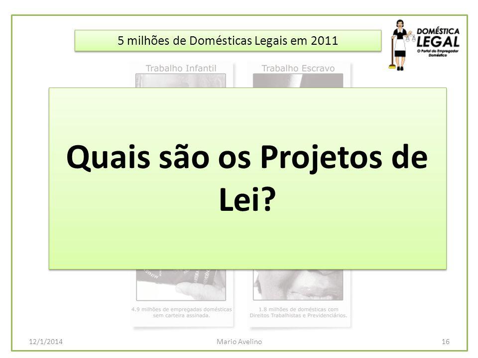 5 milhões de Domésticas Legais em 2011 16Mario Avelino12/1/2014 Quais são os Projetos de Lei?