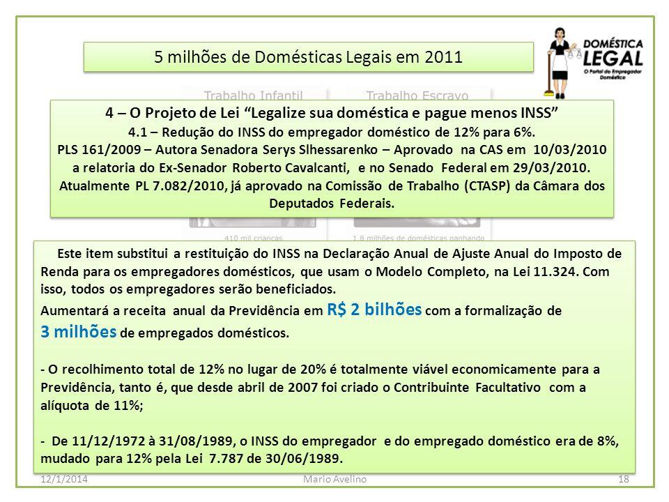 5 milhões de Domésticas Legais em 2011 Este item substitui a restituição do INSS na Declaração Anual de Ajuste Anual do Imposto de Renda para os empre