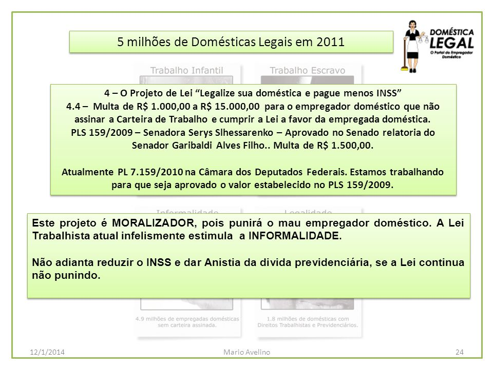 5 milhões de Domésticas Legais em 2011 Este projeto é MORALIZADOR, pois punirá o mau empregador doméstico. A Lei Trabalhista atual infelismente estimu