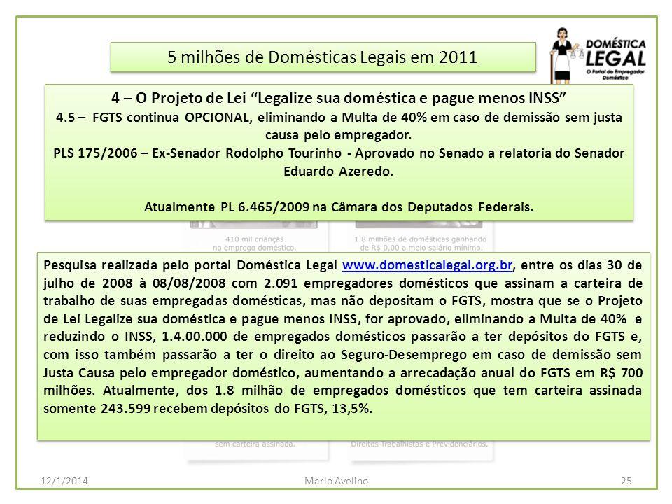 5 milhões de Domésticas Legais em 2011 Pesquisa realizada pelo portal Doméstica Legal www.domesticalegal.org.br, entre os dias 30 de julho de 2008 à 0