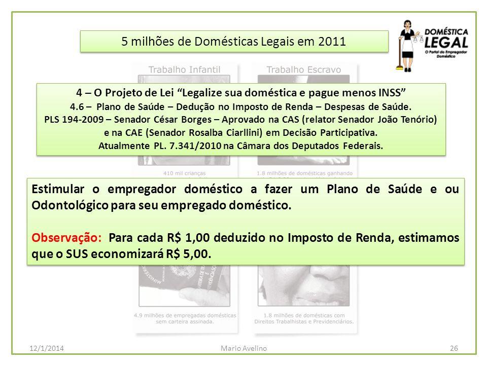 5 milhões de Domésticas Legais em 2011 Estimular o empregador doméstico a fazer um Plano de Saúde e ou Odontológico para seu empregado doméstico. Obse