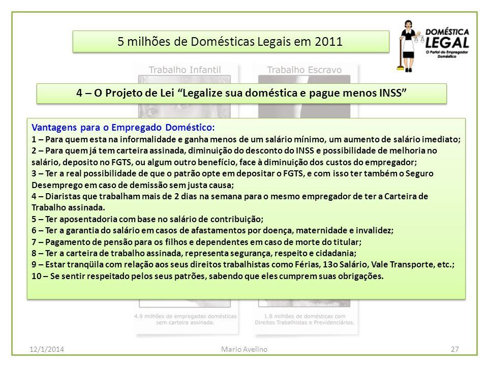 5 milhões de Domésticas Legais em 2011 Vantagens para o Empregado Doméstico: 1 – Para quem esta na informalidade e ganha menos de um salário mínimo, u