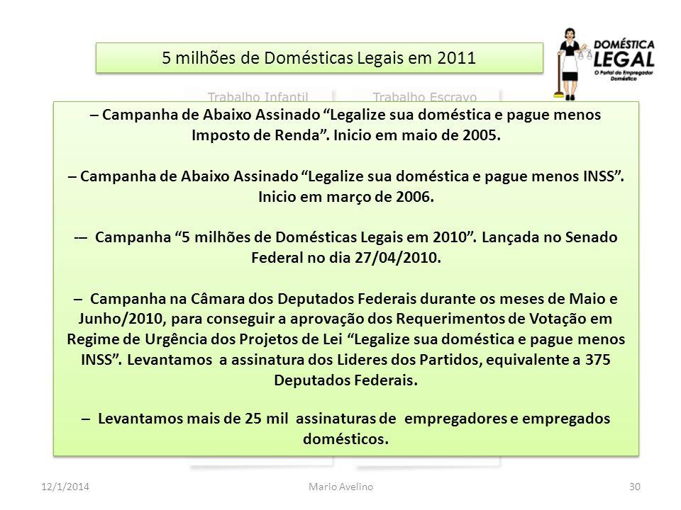 5 milhões de Domésticas Legais em 2011 30Mario Avelino12/1/2014 – Campanha de Abaixo Assinado Legalize sua doméstica e pague menos Imposto de Renda. I