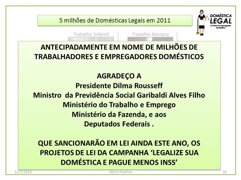 5 milhões de Domésticas Legais em 2011 32Mario Avelino12/1/2014 ANTECIPADAMENTE EM NOME DE MILHÕES DE TRABALHADORES E EMPREGADORES DOMÉSTICOS AGRADEÇO