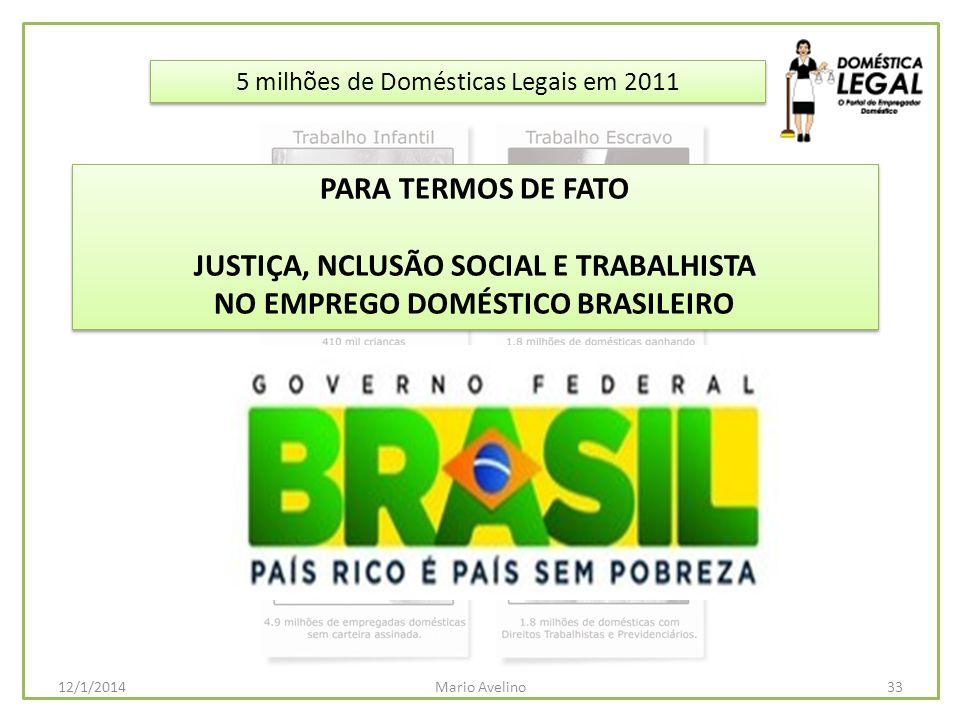 5 milhões de Domésticas Legais em 2011 33Mario Avelino12/1/2014 PARA TERMOS DE FATO JUSTIÇA, NCLUSÃO SOCIAL E TRABALHISTA NO EMPREGO DOMÉSTICO BRASILE