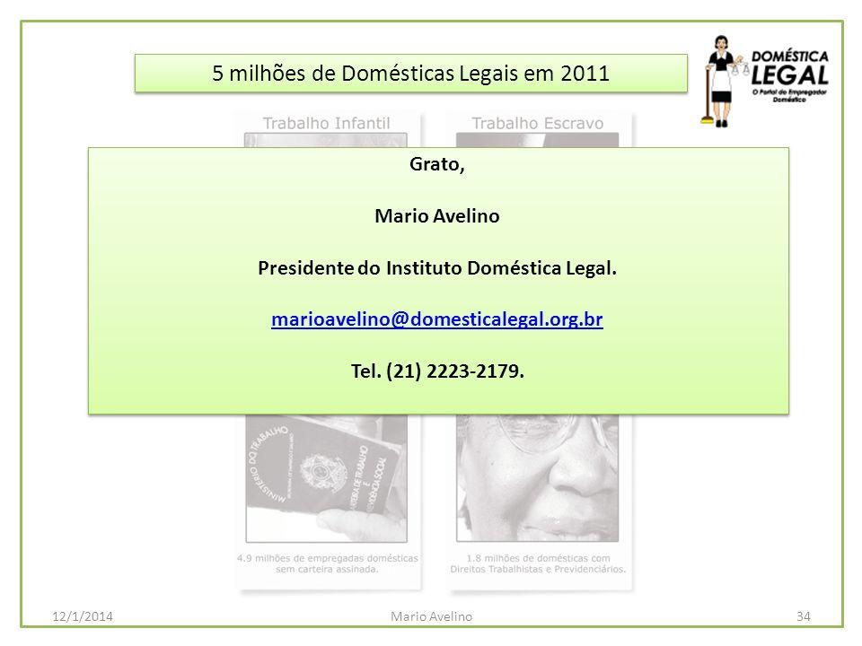 5 milhões de Domésticas Legais em 2011 34Mario Avelino12/1/2014 Grato, Mario Avelino Presidente do Instituto Doméstica Legal. marioavelino@domesticale