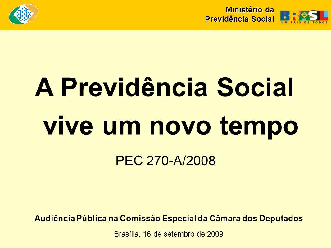 Audiência Pública na Comissão Especial da Câmara dos Deputados Brasília, 16 de setembro de 2009 A Previdência Social vive um novo tempo PEC 270-A/2008 Ministério da Previdência Social