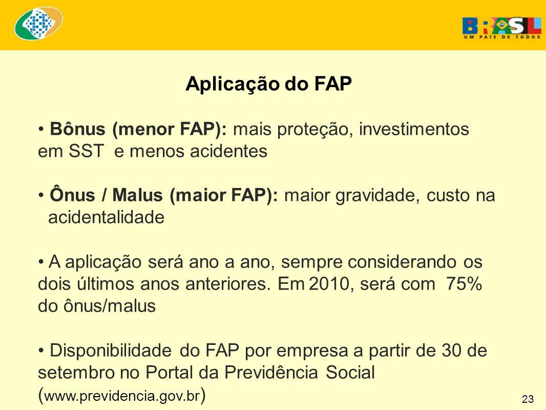 Aplicação do FAP Bônus (menor FAP): mais proteção, investimentos em SST e menos acidentes Ônus / Malus (maior FAP): maior gravidade, custo na acidentalidade A aplicação será ano a ano, sempre considerando os dois últimos anos anteriores.