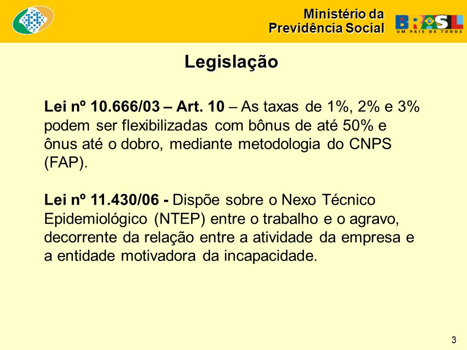 Ministério da Previdência Social Lei nº 10.666/03 – Art.