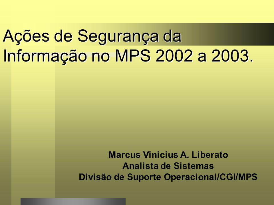 Agenda - Nova Estrutura da Rede MPS; - Equipamentos Ativos de Rede; - Conexões Wan; - Segmentação das Redes do MPS; -Ações de Segurança da Informação; - Conclusões.