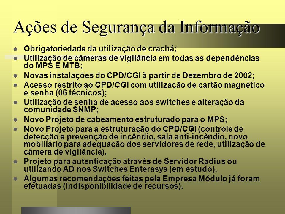 Ações de Segurança da Informação Obrigatoriedade da utilização de crachá; Utilização de câmeras de vigilância em todas as dependências do MPS E MTB; Novas instalações do CPD/CGI à partir de Dezembro de 2002; Acesso restrito ao CPD/CGI com utilização de cartão magnético e senha (06 técnicos); Utilização de senha de acesso aos switches e alteração da comunidade SNMP; Novo Projeto de cabeamento estruturado para o MPS; Novo Projeto para a estruturação do CPD/CGI (controle de detecção e prevenção de incêndio, sala anti-incêndio, novo mobiliário para adequação dos servidores de rede, utilização de câmera de vigilância).