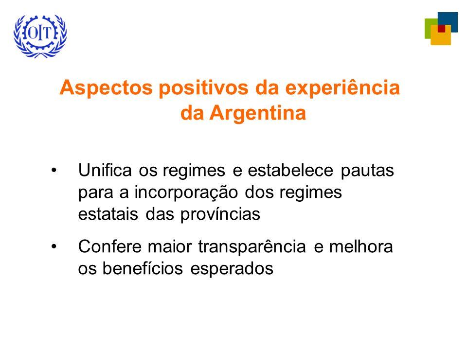 Aspectos positivos da experiência da Argentina Unifica os regimes e estabelece pautas para a incorporação dos regimes estatais das províncias Confere