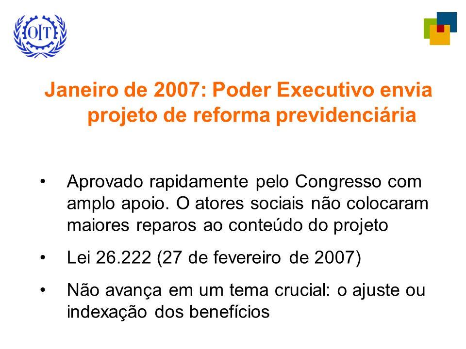 Janeiro de 2007: Poder Executivo envia projeto de reforma previdenciária Aprovado rapidamente pelo Congresso com amplo apoio. O atores sociais não col