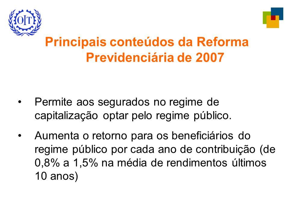 Principais conteúdos da Reforma Previdenciária de 2007 Permite aos segurados no regime de capitalização optar pelo regime público. Aumenta o retorno p