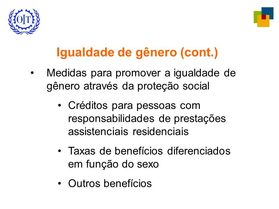 Igualdade de gênero (cont.) Medidas para promover a igualdade de gênero através da proteção social Créditos para pessoas com responsabilidades de prestações assistenciais residenciais Taxas de benefícios diferenciados em função do sexo Outros benefícios