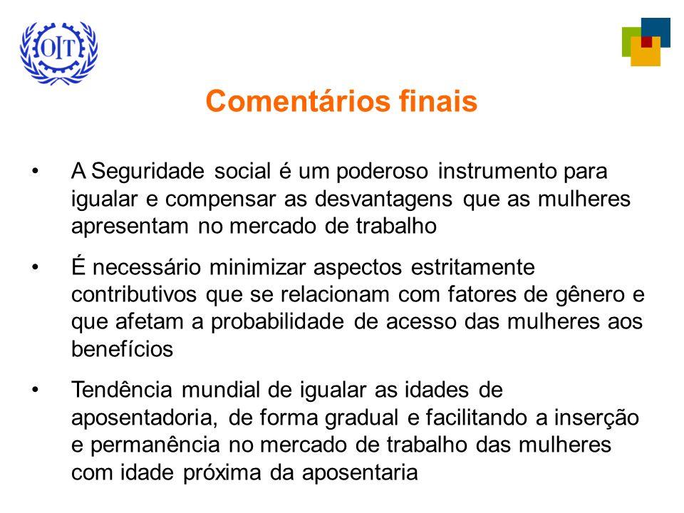 Comentários finais A Seguridade social é um poderoso instrumento para igualar e compensar as desvantagens que as mulheres apresentam no mercado de tra