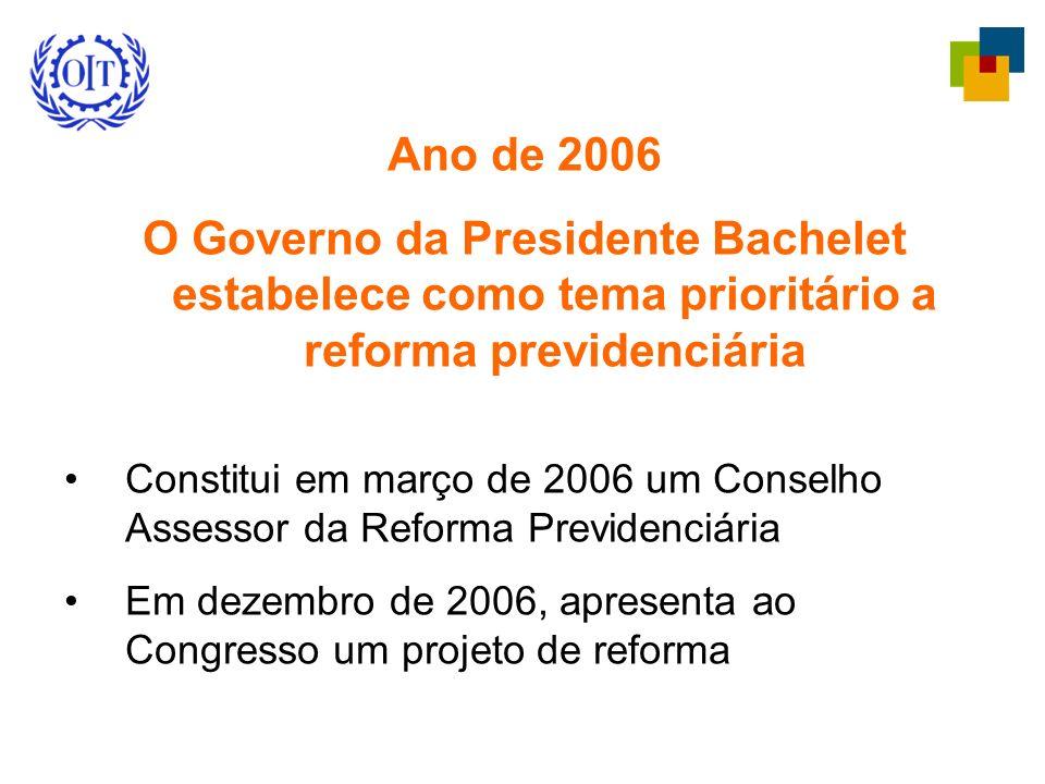 Ano de 2006 O Governo da Presidente Bachelet estabelece como tema prioritário a reforma previdenciária Constitui em março de 2006 um Conselho Assessor da Reforma Previdenciária Em dezembro de 2006, apresenta ao Congresso um projeto de reforma