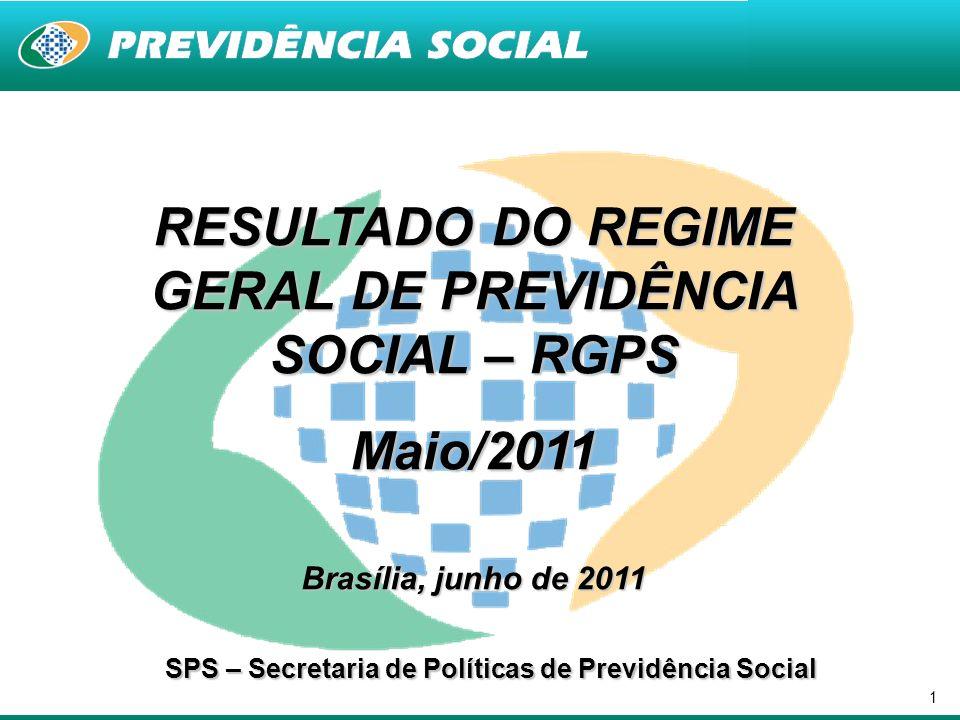 1 RESULTADO DO REGIME GERAL DE PREVIDÊNCIA SOCIAL – RGPS Maio/2011 Brasília, junho de 2011 SPS – Secretaria de Políticas de Previdência Social