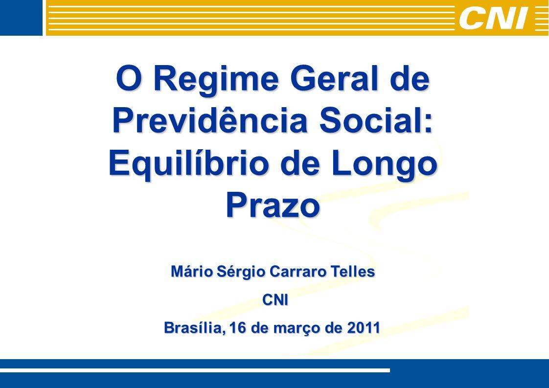 O Regime Geral de Previdência Social: Equilíbrio de Longo Prazo Mário Sérgio Carraro Telles CNI CNI Brasília, 16 de março de 2011