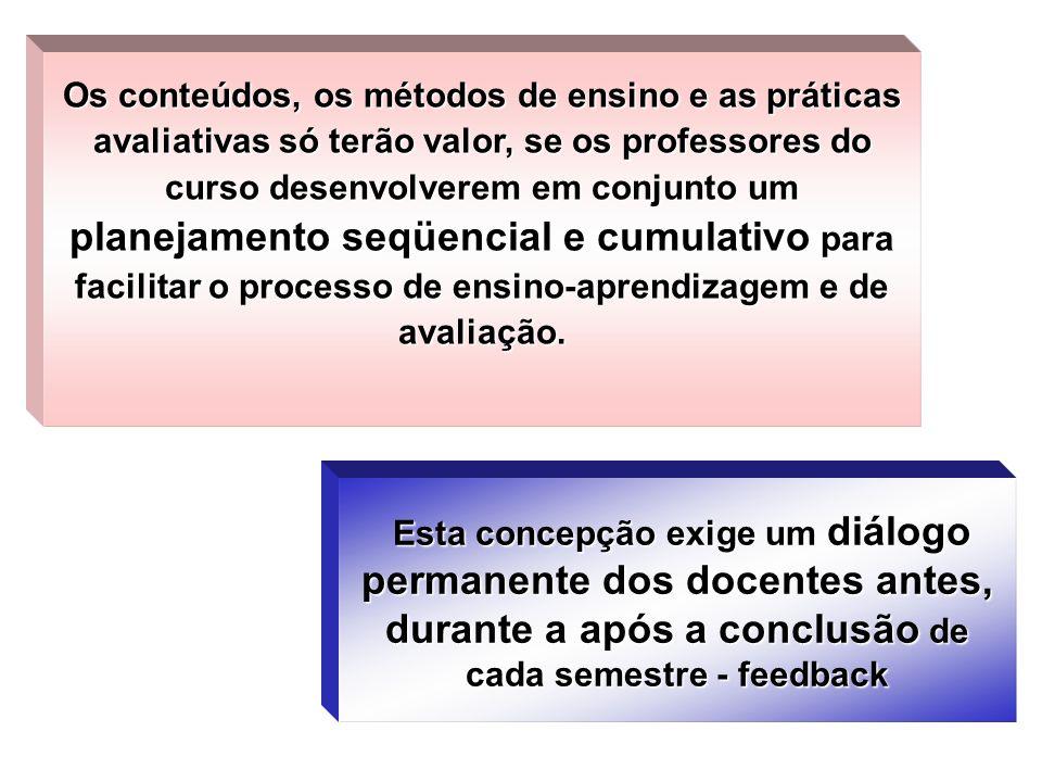 Os conteúdos, os métodos de ensino e as práticas avaliativas só terão valor, se os professores do curso desenvolverem em conjunto um planejamento seqü