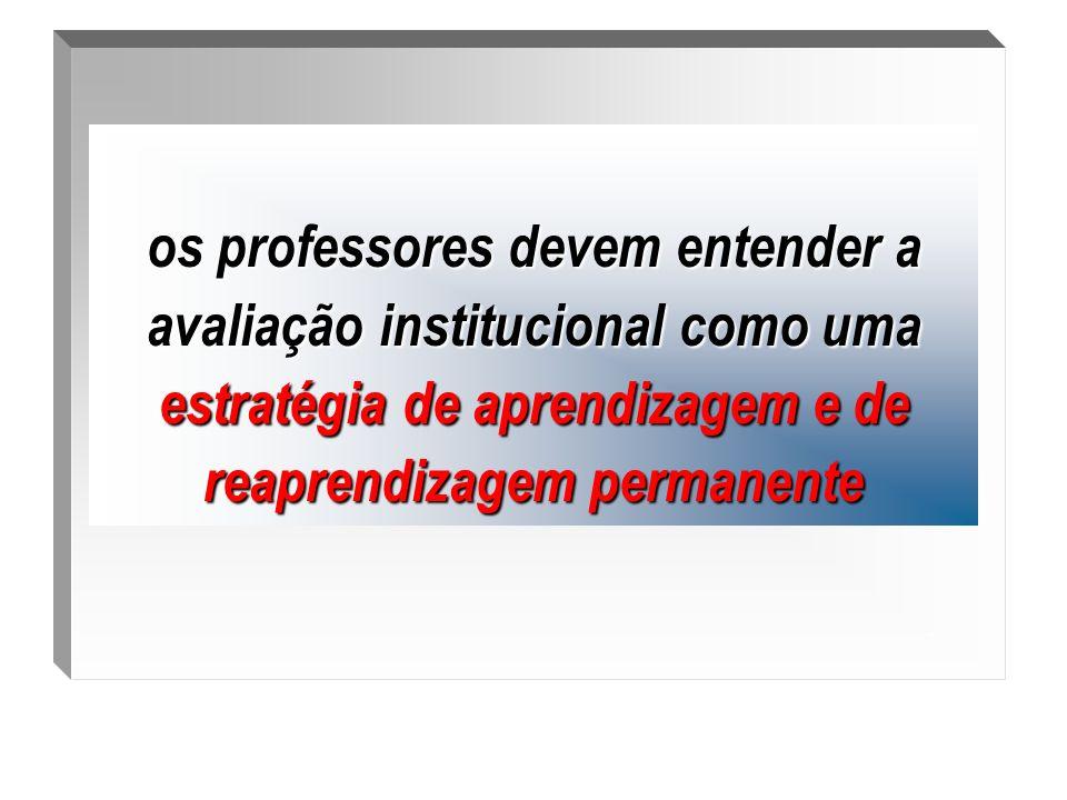. os professores devem entender a avaliação institucional como uma estratégia de aprendizagem e de reaprendizagem permanente