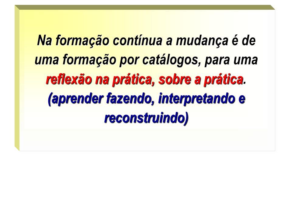 . Na formação contínua a mudança é de uma formação por catálogos, para uma reflexão na prática, sobre a prática. (aprender fazendo, interpretando e re