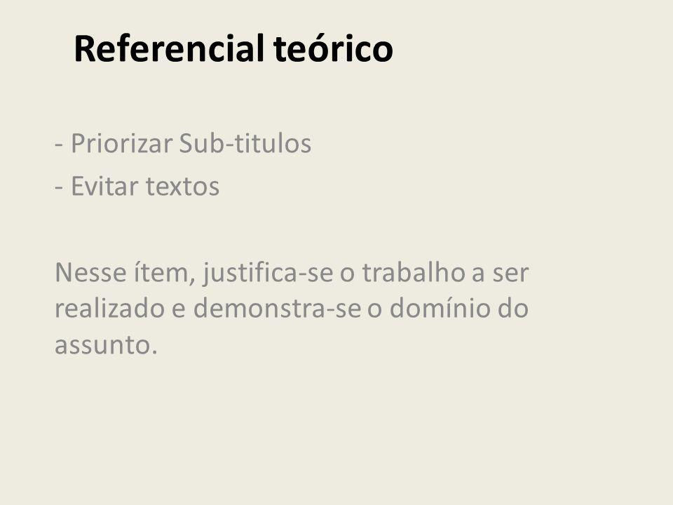 Referencial teórico - Priorizar Sub-titulos - Evitar textos Nesse ítem, justifica-se o trabalho a ser realizado e demonstra-se o domínio do assunto.
