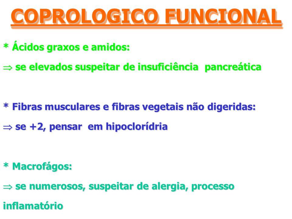 * Ácidos graxos e amidos: se elevados suspeitar de insuficiência pancreática se elevados suspeitar de insuficiência pancreática * Fibras musculares e fibras vegetais não digeridas: se +2, pensar em hipoclorídria se +2, pensar em hipoclorídria * Macrofágos: se numerosos, suspeitar de alergia, processo inflamatório se numerosos, suspeitar de alergia, processo inflamatório COPROLOGICO FUNCIONAL
