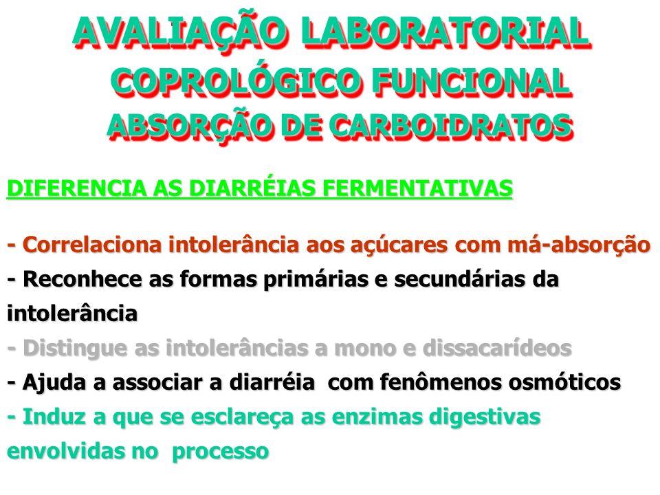 AVALIAÇÃO LABORATORIAL COPROLÓGICO FUNCIONAL COPROLÓGICO FUNCIONAL ABSORÇÃO DE CARBOIDRATOS ABSORÇÃO DE CARBOIDRATOS AVALIAÇÃO LABORATORIAL COPROLÓGICO FUNCIONAL COPROLÓGICO FUNCIONAL ABSORÇÃO DE CARBOIDRATOS ABSORÇÃO DE CARBOIDRATOS DIFERENCIA AS DIARRÉIAS FERMENTATIVAS - Correlaciona intolerância aos açúcares com má-absorção - Reconhece as formas primárias e secundárias da intolerância - Distingue as intolerâncias a mono e dissacarídeos - Ajuda a associar a diarréia com fenômenos osmóticos - Induz a que se esclareça as enzimas digestivas envolvidas no processo