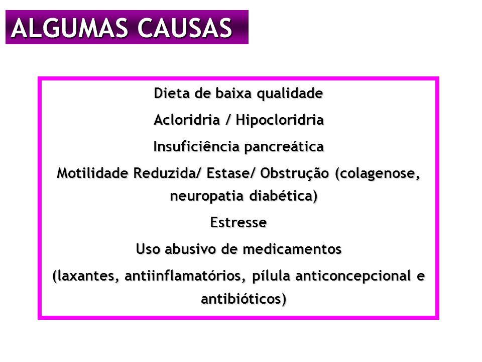 ALGUMAS CAUSAS Dieta de baixa qualidade Acloridria / Hipocloridria Insuficiência pancreática Motilidade Reduzida/ Estase/ Obstrução (colagenose, neuropatia diabética) Estresse Uso abusivo de medicamentos (laxantes, antiinflamatórios, pílula anticoncepcional e antibióticos)
