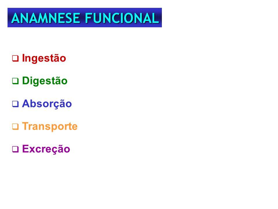 Ingestão Digestão Absorção Transporte Excreção ANAMNESE FUNCIONAL