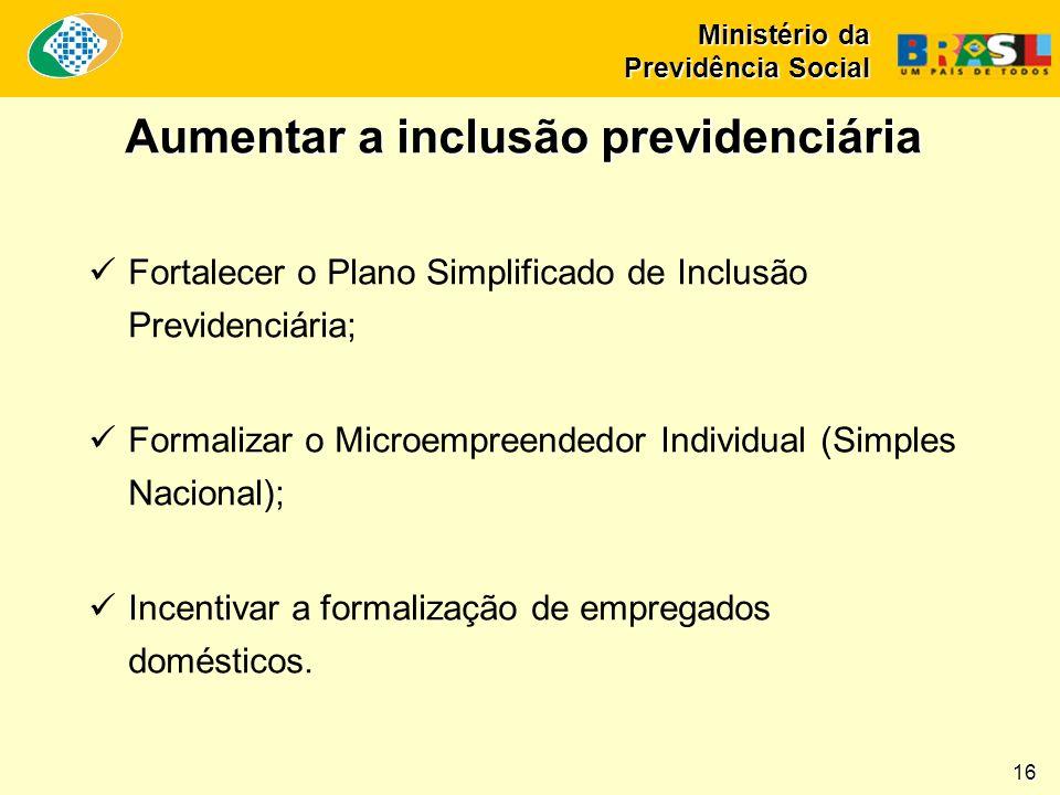 Fortalecer o Plano Simplificado de Inclusão Previdenciária; Formalizar o Microempreendedor Individual (Simples Nacional); Incentivar a formalização de