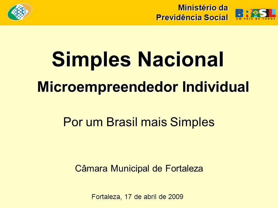 Ministério da Previdência Social Simples Nacional Microempreendedor Individual Fortaleza, 17 de abril de 2009 Por um Brasil mais Simples Câmara Municipal de Fortaleza