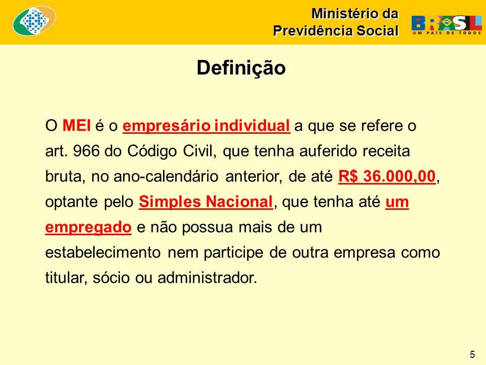 Ministério da Previdência Social O MEI é o empresário individual a que se refere o art.