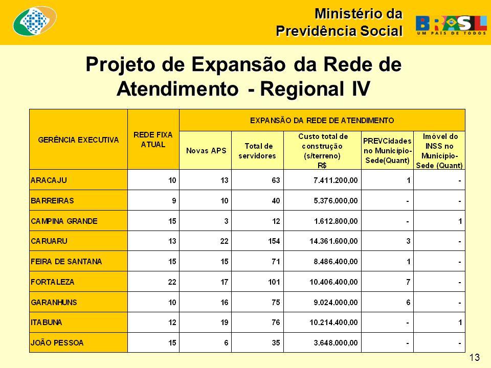 Projeto de Expansão da Rede de Atendimento - Regional IV Ministério da Previdência Social 13