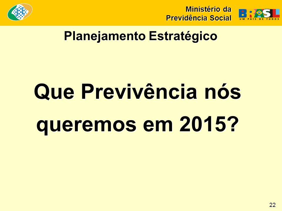 Que Previvência nós queremos em 2015 Planejamento Estratégico Ministério da Previdência Social 22