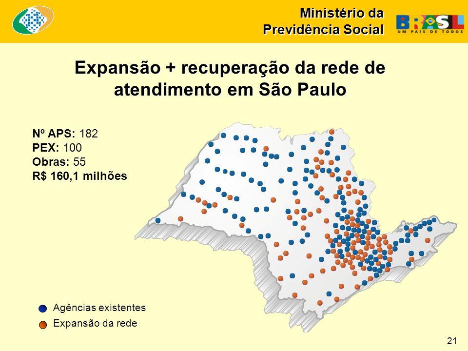 Ministério da Previdência Social Nº APS: 182 PEX: 100 Obras: 55 R$ 160,1 milhões Expansão + recuperação da rede de atendimento em São Paulo Agências existentes Expansão da rede 21