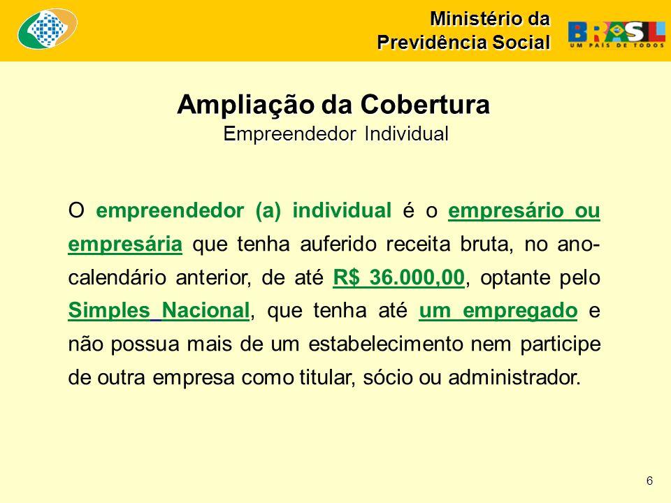 Ministério da Previdência Social O empreendedor (a) individual é o empresário ou empresária que tenha auferido receita bruta, no ano- calendário anter
