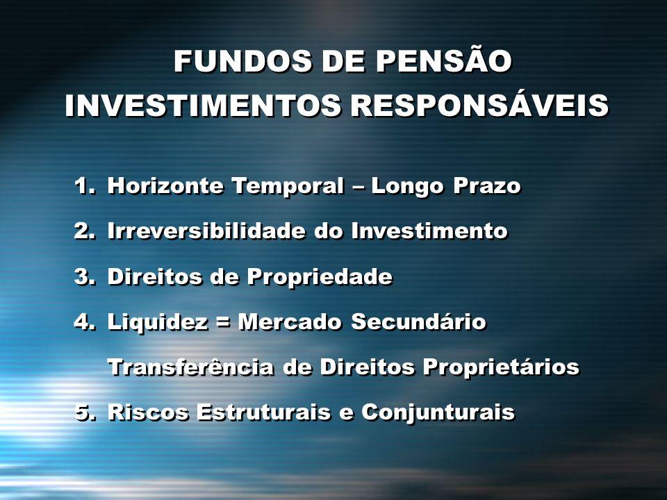 FUNDOS DE PENSÃO INVESTIMENTOS RESPONSÁVEIS 1.Horizonte Temporal – Longo Prazo 2.Irreversibilidade do Investimento 3.Direitos de Propriedade 4.Liquide