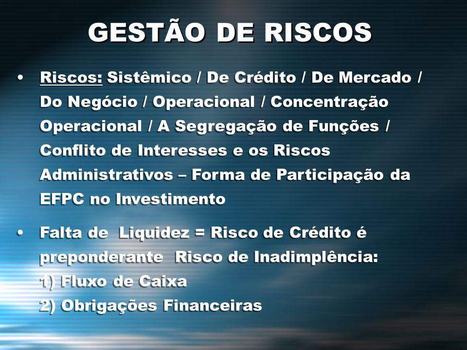 GESTÃO DE RISCOS Riscos: Sistêmico / De Crédito / De Mercado / Do Negócio / Operacional / Concentração Operacional / A Segregação de Funções / Conflit