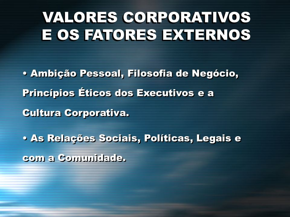 VALORES CORPORATIVOS E OS FATORES EXTERNOS VALORES CORPORATIVOS E OS FATORES EXTERNOS Ambição Pessoal, Filosofia de Negócio, Princípios Éticos dos Exe