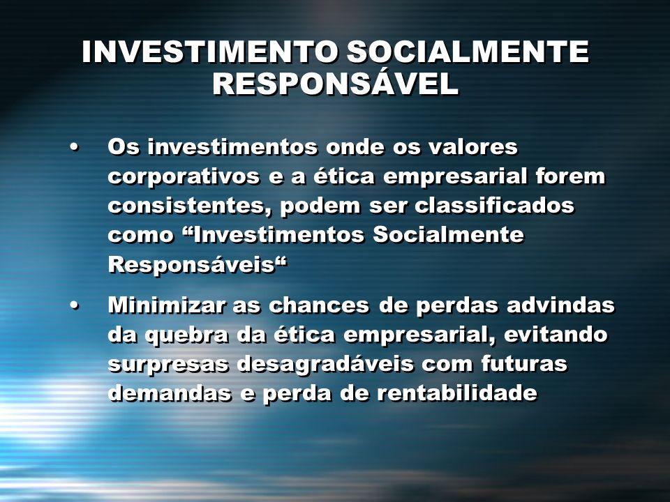 Os investimentos onde os valores corporativos e a ética empresarial forem consistentes, podem ser classificados como Investimentos Socialmente Respons