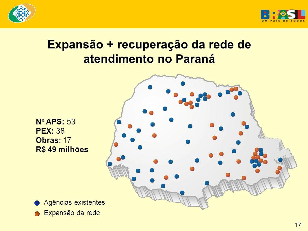 Nº APS: 53 PEX: 38 Obras: 17 R$ 49 milhões Expansão + recuperação da rede de atendimento no Paraná Agências existentes Expansão da rede 17