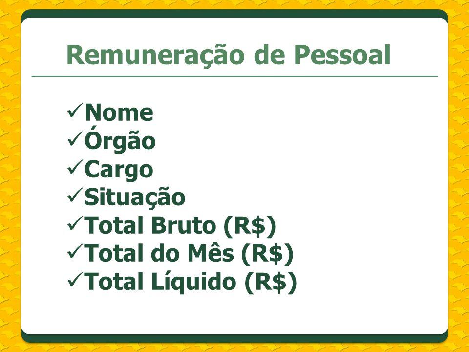 Remuneração de Pessoal Nome Órgão Cargo Situação Total Bruto (R$) Total do Mês (R$) Total Líquido (R$)