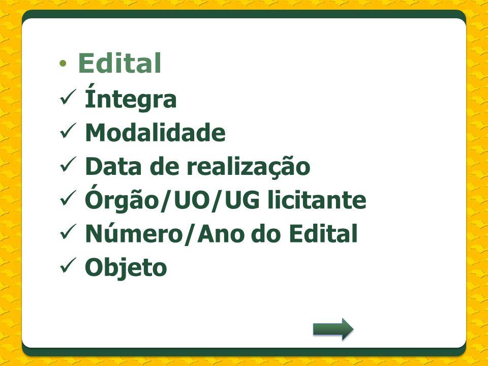 Edital Íntegra Modalidade Data de realização Órgão/UO/UG licitante Número/Ano do Edital Objeto