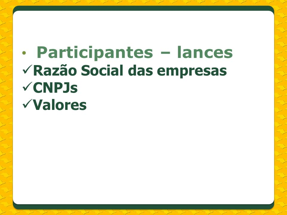 Participantes – lances Razão Social das empresas CNPJs Valores