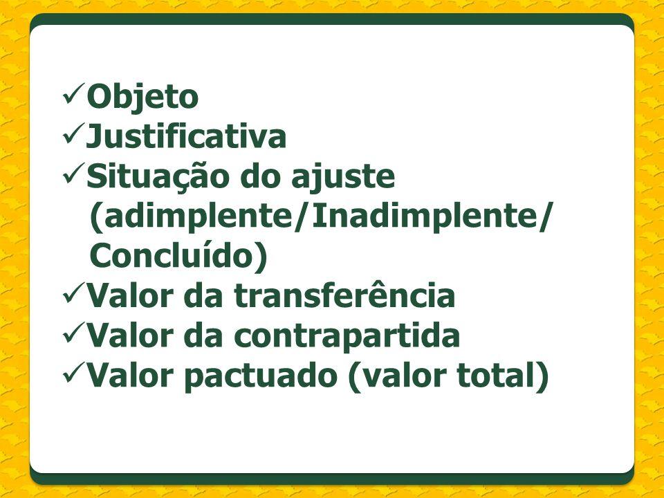 Objeto Justificativa Situação do ajuste (adimplente/Inadimplente/ Concluído) Valor da transferência Valor da contrapartida Valor pactuado (valor total)